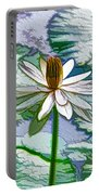 Beautiful White Water Lilies Flower Portable Battery Charger