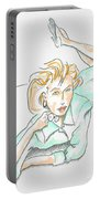 Beautiful Woman, Reclining -- Portrait Of Woman On Floor Portable Battery Charger