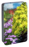 Beautiful Yellow Flowers On A Garden Background Portable Battery Charger