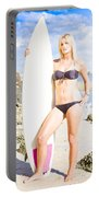 Beautiful Young Blond Surf Woman Portable Battery Charger