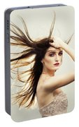 Beautiful Young Woman With Windswept Hair Portable Battery Charger