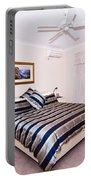 Bedroom With Silver And Blue Linen Portable Battery Charger