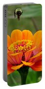 Bee Above Orange Zinnia Portable Battery Charger