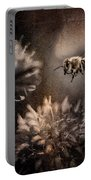 Bee Approaching Red Clover Blossom Portable Battery Charger