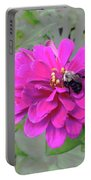 Bee Feeding From Pink Zinnia Portable Battery Charger