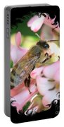 Bee On Pink Flower With Swirly Framing Portable Battery Charger