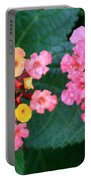 Bee On Rainy Flowers Portable Battery Charger