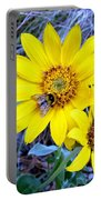 Bee On Wild Sunflowers Portable Battery Charger
