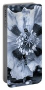 Double Bees On Poppy Bw Portable Battery Charger
