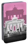 Berlin Brandenburg Gate - Graphic Art - Pink Portable Battery Charger