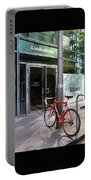 Berlin Street View With Red Bike Portable Battery Charger by Ben and Raisa Gertsberg
