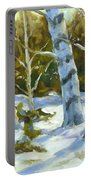 Big Birches In Winter Portable Battery Charger