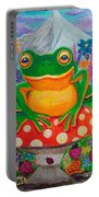 Big Green Frog On Red Mushroom Portable Battery Charger