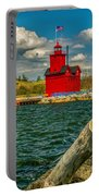 Big Red Lighthouse In Michigan Portable Battery Charger