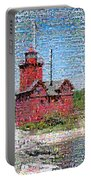Big Red Photomosaic Portable Battery Charger by Michelle Calkins