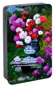 Big Vase With Peonies Portable Battery Charger