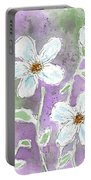 Big White Flowers Portable Battery Charger