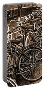 Bike Parking -- Amsterdam In November Sepia Portable Battery Charger