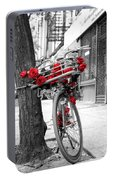 Bike With Red Roses Portable Battery Charger