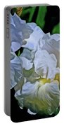 Billowing White Irises Portable Battery Charger