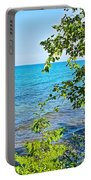 Birch Trees Above Lake Superior Off North Country Trail In Pictured Rocks National Lakeshore-mi Portable Battery Charger