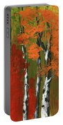 Birch Trees In An Autumn Forest Portable Battery Charger