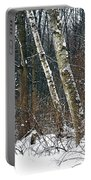 Birches During A Snowfall Portable Battery Charger