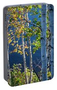 Birches On Lake Shore Portable Battery Charger