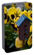 Bird House And Pansies Portable Battery Charger
