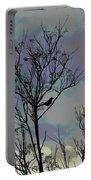 Bird In Tree Silhouette Iv Abstract Portable Battery Charger