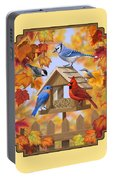 Bird Painting - Autumn Aquaintances Portable Battery Charger by Crista Forest