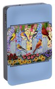 Bird Painting - Spring Garden Party Portable Battery Charger by Crista Forest