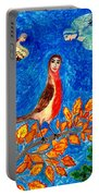 Bird People Robin Portable Battery Charger by Sushila Burgess
