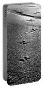 Bird Prints In The Sand Black And White Portable Battery Charger