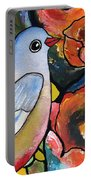 Bird With Prickly Pear Cactus Flowers Portable Battery Charger