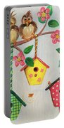 Birds And Birdhouse Portable Battery Charger
