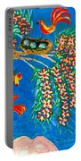 Birds And Nest In Flowering Tree Portable Battery Charger by Sushila Burgess