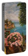 Bird's Eye View Of Portofino Portable Battery Charger by Charlotte Blanchard