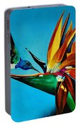 Birds Of Paradise With White Necked Jacobin Hummingbird Portable Battery Charger