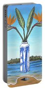 Birds Over Paradise Flowers Portable Battery Charger