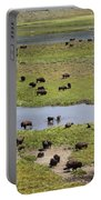 Bison Herd And Yellowstone River Portable Battery Charger