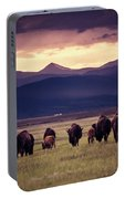 Bison Herd Into The Sunset Portable Battery Charger