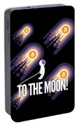 Bitcoin To The Moon Astronaut Cryptocurrency Humor Funny Space Crypto Portable Battery Charger