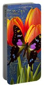 Black And Pink Butterfly Portable Battery Charger