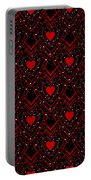 Black And Red Hearts Portable Battery Charger