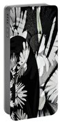 Black And White Abstract Floral Portable Battery Charger
