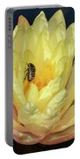 Black And White Beetle On Yellow Pond Lily Portable Battery Charger