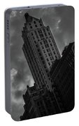 Black And White Buildings Portable Battery Charger