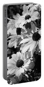 Black And White Coneflowers Portable Battery Charger