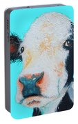 Black And White Cow On Blue Background Portable Battery Charger